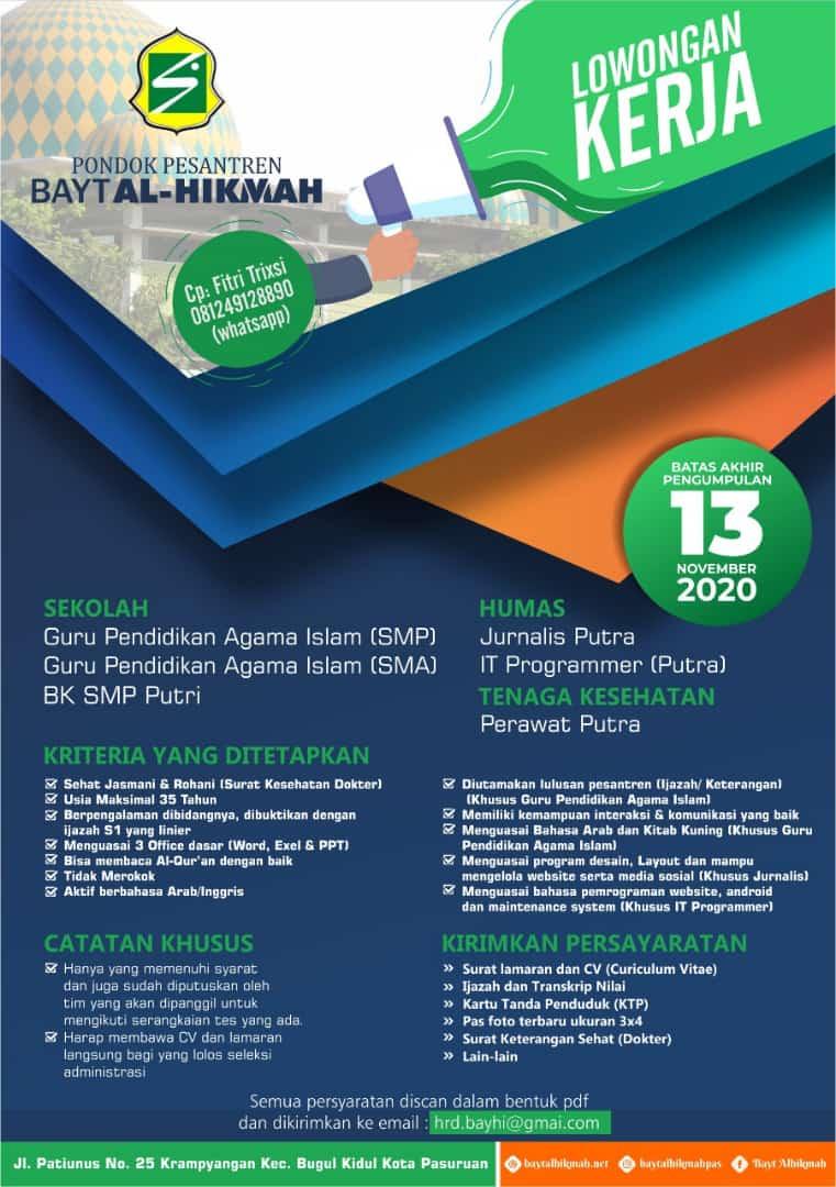 Lowongan Kerja Pp Bayt Al Hikmah November 2020